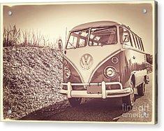 Surfer's Vintage Vw Samba Bus At The Beach Acrylic Print by Edward Fielding