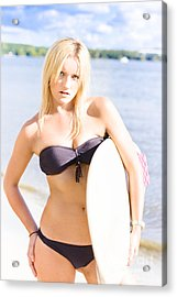Surfing Lifestyle Lady Acrylic Print by Jorgo Photography - Wall Art Gallery