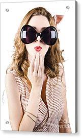 Surprised Beautiful Pin-up Girl. White Background Acrylic Print