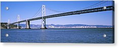 Suspension Bridge Across The Bay, Bay Acrylic Print by Panoramic Images