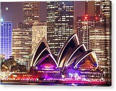 Sydney Skyline At Night With Opera House - Australia Acrylic Print