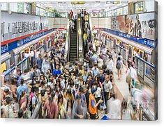 Taipei Metro Rush Acrylic Print