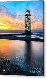 Talacre Lighthouse Sunset Acrylic Print by Adrian Evans