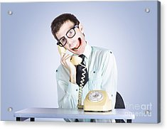 Talkative Nerd Man With Big Mouth Acrylic Print