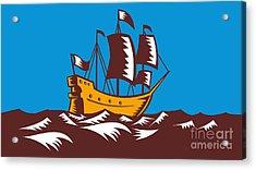 Tall Sailing Ship Retro Woodcut Acrylic Print by Aloysius Patrimonio