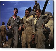 Tank Crew Standing In Front Of An M4 Acrylic Print by Stocktrek Images
