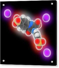 Tartrazine Molecule Acrylic Print
