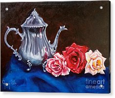 Teapot And Roses Acrylic Print