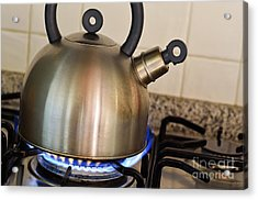 Teapot On Gas Stove Burner Acrylic Print by Sami Sarkis