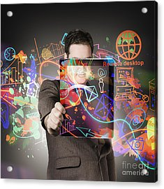 Technology Man With Network On Digital Tablet Acrylic Print by Jorgo Photography - Wall Art Gallery