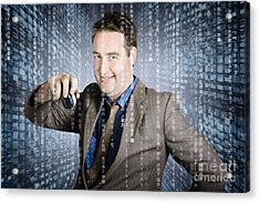 Technology Smart Business Man Using Computer Mouse Acrylic Print by Jorgo Photography - Wall Art Gallery