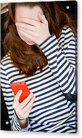 Teenage Cyberbullying Acrylic Print by Aj Photo