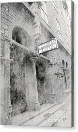 Telegraf Building In Foggy Oslo Acrylic Print by Sophie Vigneault
