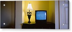 Television And Lamp In A Hotel Room Acrylic Print by Panoramic Images