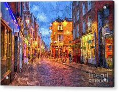 Temple Bar District In Dublin At Night Acrylic Print by Patricia Hofmeester