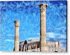 Temple Of Olympian Zeus And Acropolis Acrylic Print by George Atsametakis