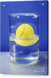 Tennis Ball Floating In Water Acrylic Print by Andrew Lambert Photography