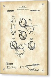 Tennis Ball Patent 1914 - Vintage Acrylic Print by Stephen Younts