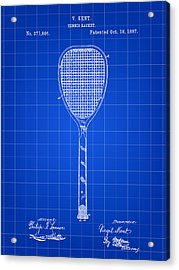 Tennis Racket Patent 1887 - Blue Acrylic Print by Stephen Younts