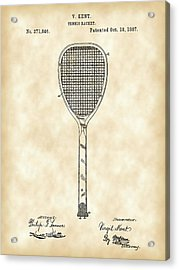 Tennis Racket Patent 1887 - Vintage Acrylic Print by Stephen Younts