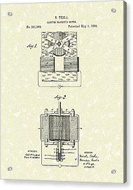 Tesla Motor 1888 Patent Art Acrylic Print by Prior Art Design