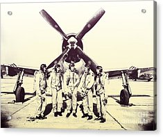 Test Pilots With P-47 Thunderbolt Fighter Acrylic Print