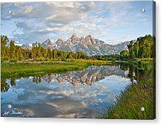 Teton Range Reflected In The Snake River Acrylic Print