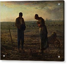 Acrylic Print featuring the painting The Angelus by Jean Francois Millet