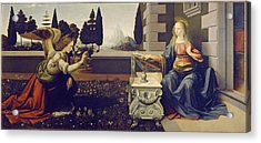 The Annunciation Acrylic Print by Leonardo Da Vinci