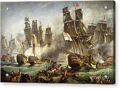 The Battle Of Trafalgar Acrylic Print by English School