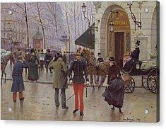 The Boulevard Des Capucines And The Vaudeville Theatre Acrylic Print