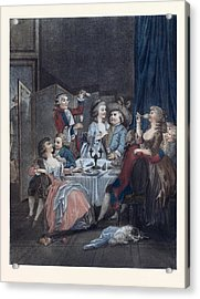 The Evening Meal, Men, Women, Food And Drink, Liszt Gourmet Acrylic Print by Huet, Jean-baptiste Marie (1745?1811), French