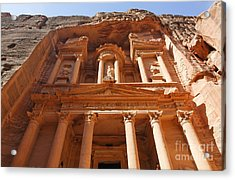 The Facade Of Al Khazneh In Petra Jordan Acrylic Print by Robert Preston