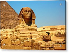 Acrylic Print featuring the photograph The Great Sphinx Of Giza And Pyramid Of Khafre by Joe  Ng