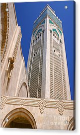 Acrylic Print featuring the photograph The Hassan II Mosque Grand Mosque With The Worlds Tallest 210m Minaret Sour Jdid Casablanca Morocco by Ralph A  Ledergerber-Photography
