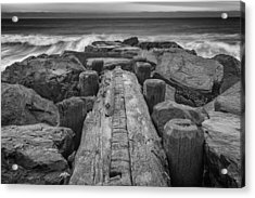 The Jetty In Black And White Acrylic Print by Rick Berk