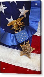 The Medal Of Honor Rests On A Flag Acrylic Print by Stocktrek Images