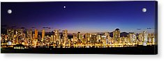 The Moon And Venus Over Honolulu Acrylic Print