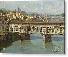 Acrylic Print featuring the painting The Ponte Vecchio Florence by Celestial Images
