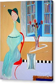 Acrylic Print featuring the painting The Red Chair by Bill OConnor