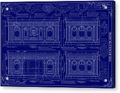 The Resolute Desk Blueprints - Dark Blue Acrylic Print by Kenneth Perez