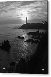 The Sun Is Setting Behind The Pigeon Point Light Station Near Ano Nuevo Acrylic Print by Scott Lenhart