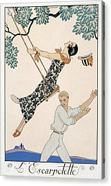 The Swing Acrylic Print by Georges Barbier