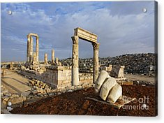 The Temple Of Hercules And Sculpture Of A Hand In The Citadel Amman Jordan Acrylic Print by Robert Preston
