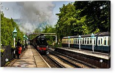 The Train Arriving Acrylic Print by Trevor Kersley