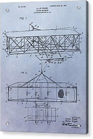 The Wright Brothers Airplane Patent Acrylic Print by Dan Sproul