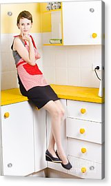 Thoughtful Woman In Kitchen Acrylic Print