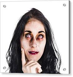 Thoughtful Zombie Acrylic Print