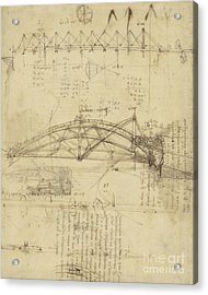 Three Kinds Of Movable Bridge Acrylic Print by Leonardo Da Vinci