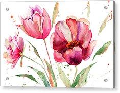 Three Tulips Flowers  Acrylic Print